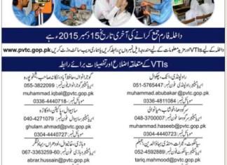 Punjab Vocational Training Council Institutes (PVTC) Free Short Courses 2016