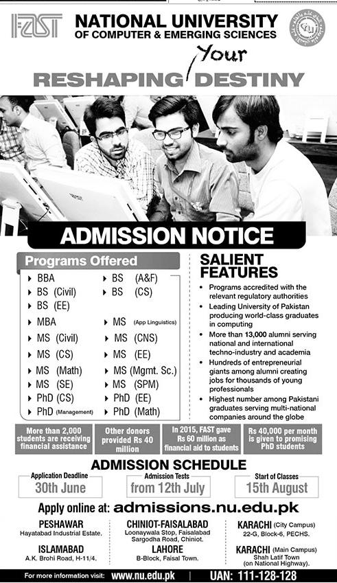 FAST National University Admission 2016 Form Download