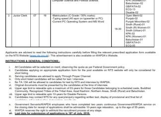 WAPDA Data Entry Operator, Stenographer Jobs 2016 NTS Application Form, Advertisement