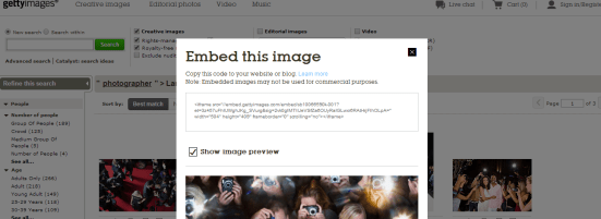 embed getty images into blog post