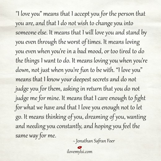I love you means that I accept you