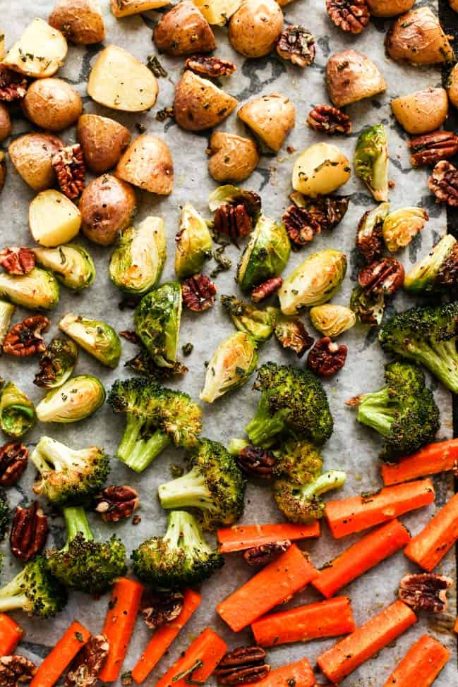 Healthy Meal Prep Sage & Garlic Pecan Roasted Vegetables » I Love Vegan