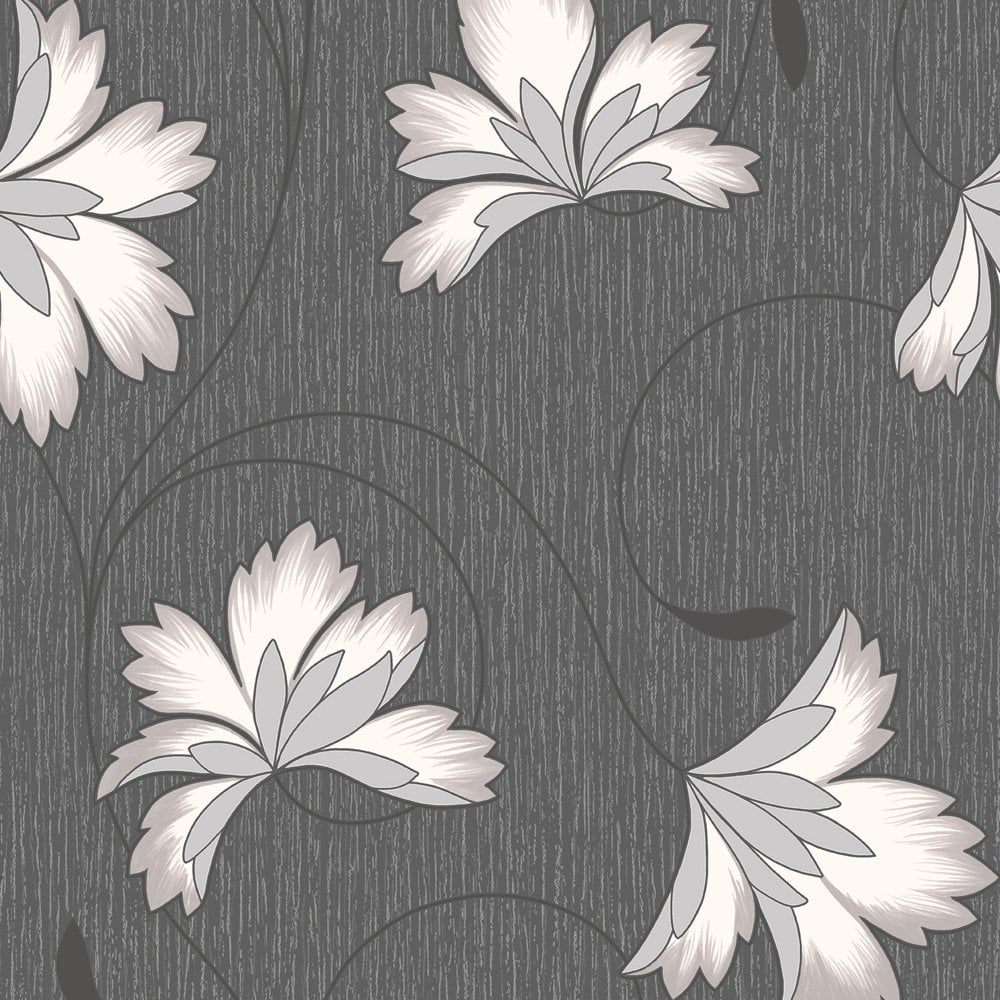 Black And White Striped Wallpaper Buy Crown Flourish Wallpaper Jet Black Background Cream