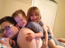 Pile up on Daddy!