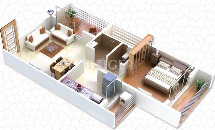 610 sq ft 1 BHK Floor Plan Image - Gaj Avenue Available for sale - Proptiger.com