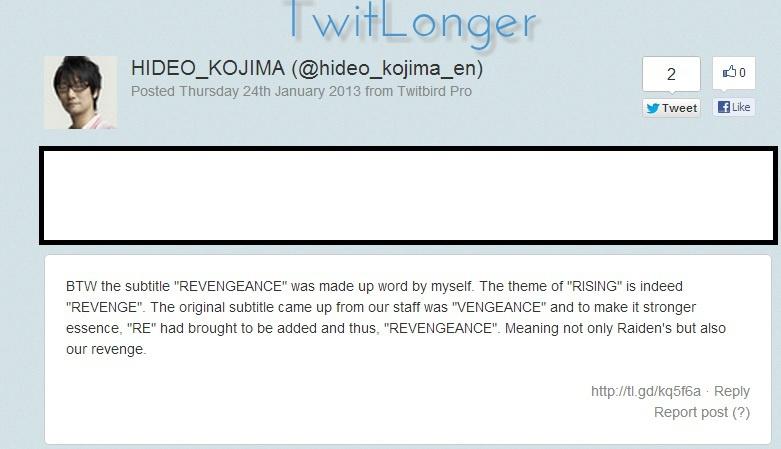 News How Hideo Kojima coined with the word - \u0027Revengeance\u0027