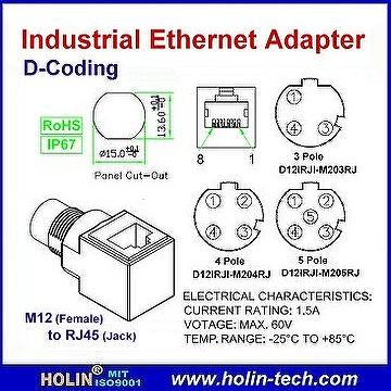 Taiwan Industrial Ethernet Adaptor, M12 Female to RJ45 Jack, D