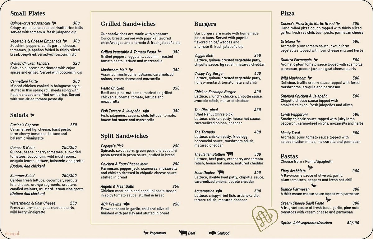 Cucina And Co Menu Menu Of Concu Cucina Jubilee Hills Central West Hyderabad