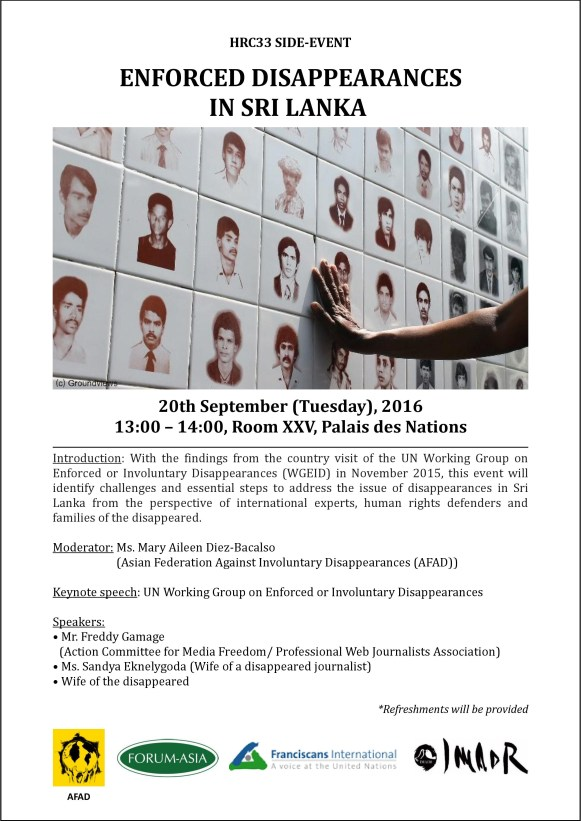 Invitation - HRC33 side event_Enforced Disappearances in Sri Lanka (1pm, 20 September 2016, Room XXV)