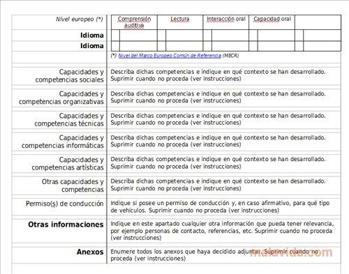 Europass CV - Baixar Grátis - europass curriculum vitae