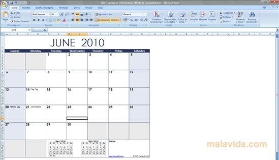 Excel Calendar Template 2018 - Descargar para PC Gratis