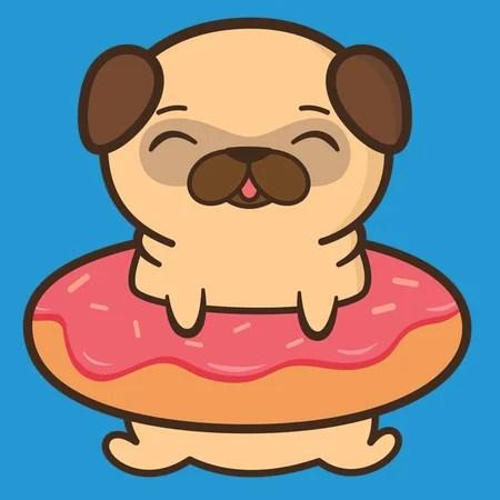 Cute Pug Wallpaper Cartoon Hysterically Cute And Kawaii Pug Neatoshop