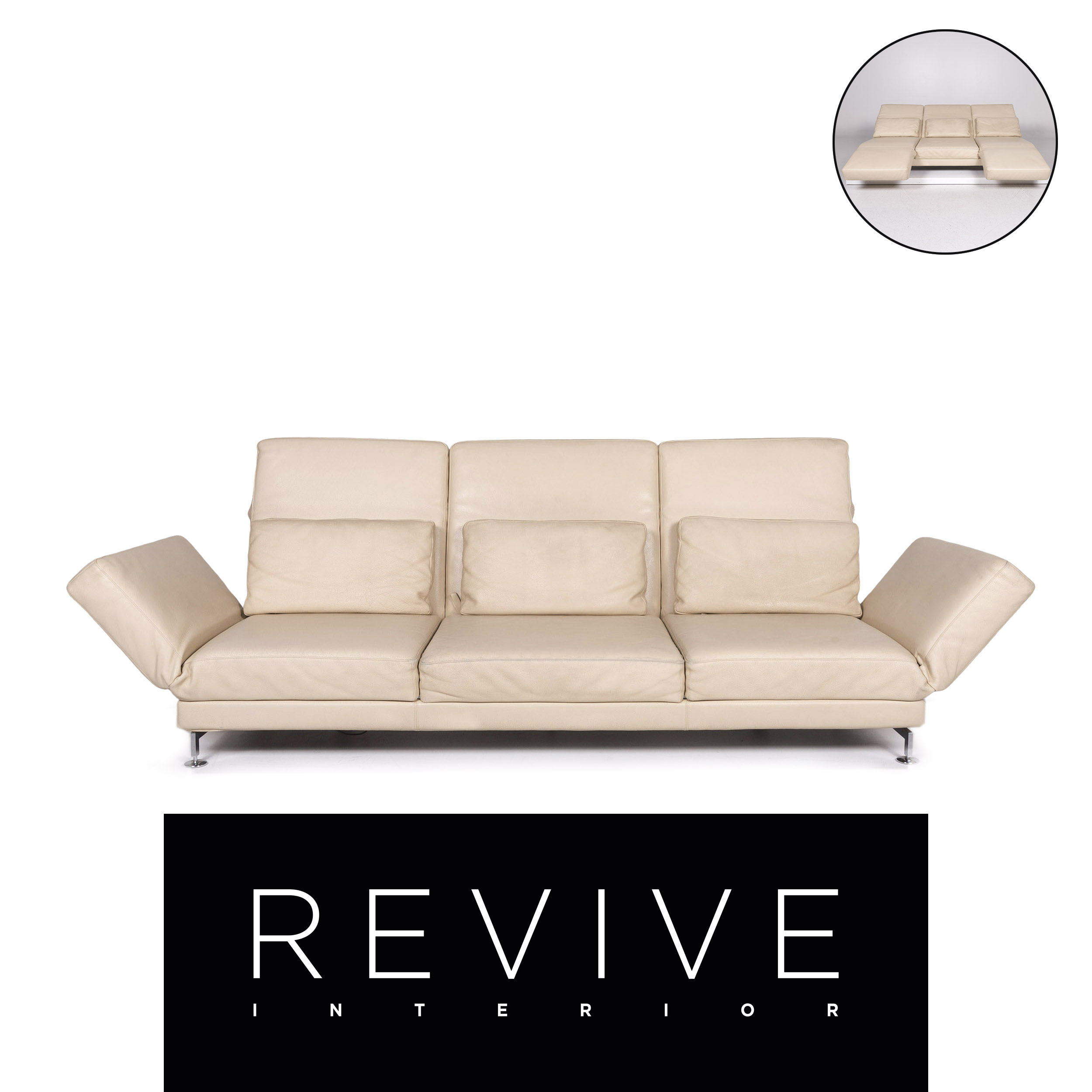 Ebay Sofa Kaufen Brühl & Sippold Moule Leather Sofa Beige Three-seater Relaxfunktion Function | Ebay
