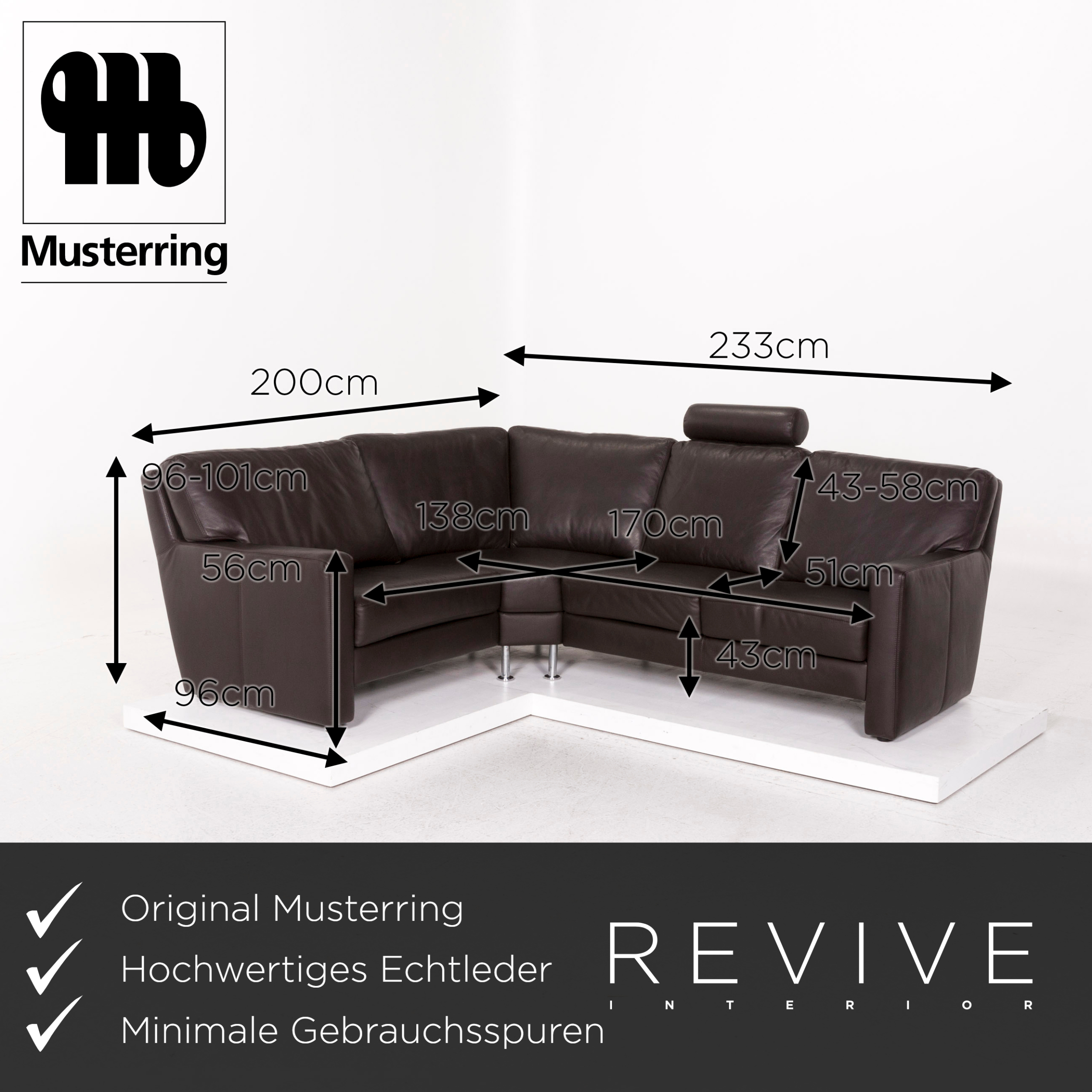 Musterring Ledersofa Musterring Leather Sofa Set Braun Dark Brown 1x Corner Sofa 1x Armchair Incl | Ebay