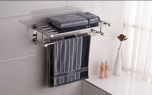 Wall Mounted Dual Row Bathroom Towel Shelf Rail Rack