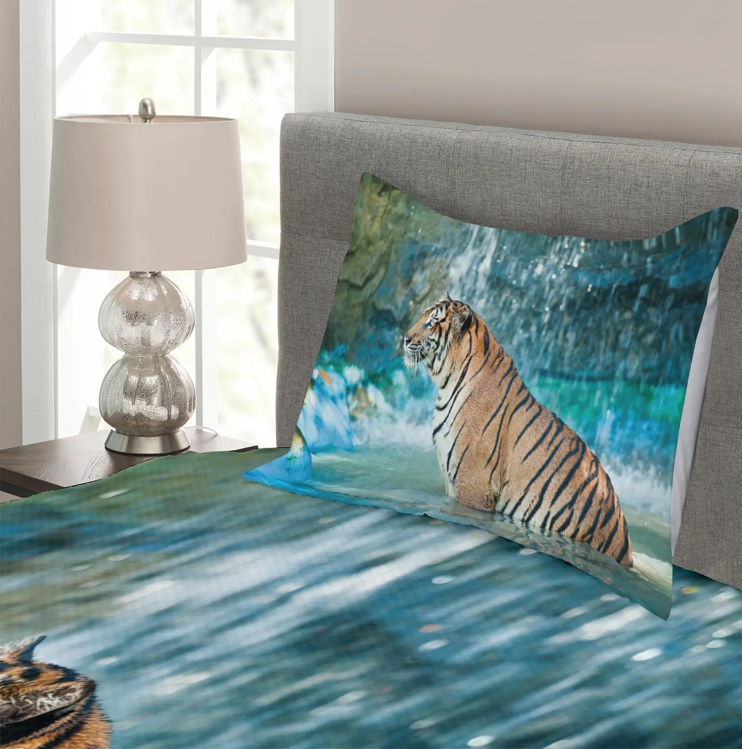 Tiger Bettwäsche Tiger Quilted Bedspread Pillow Shams Shams Shams Set Feline