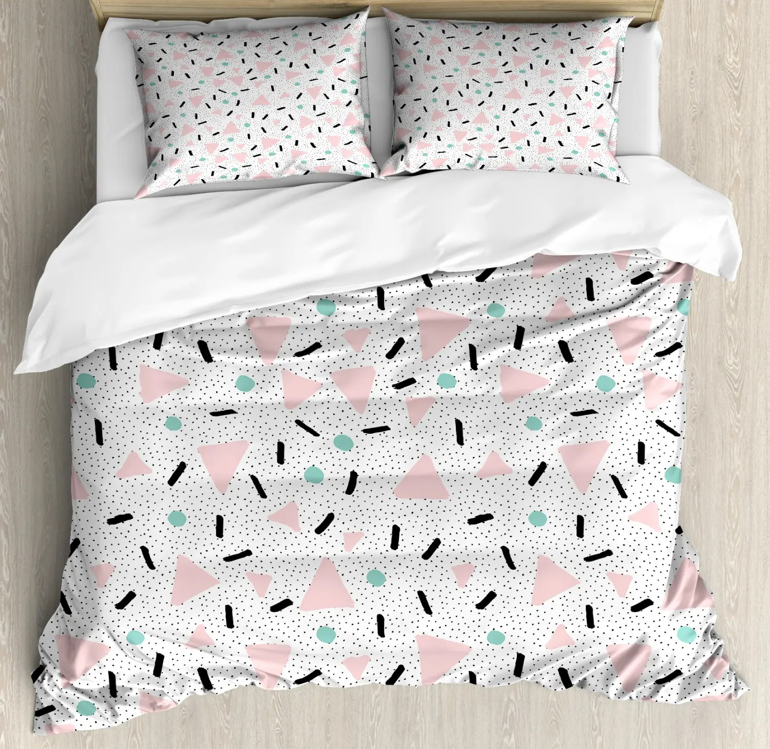 Detektiv Conan Bettwäsche Geometric Duvet Set With Pillow Shams Retro Triangles Dots Print