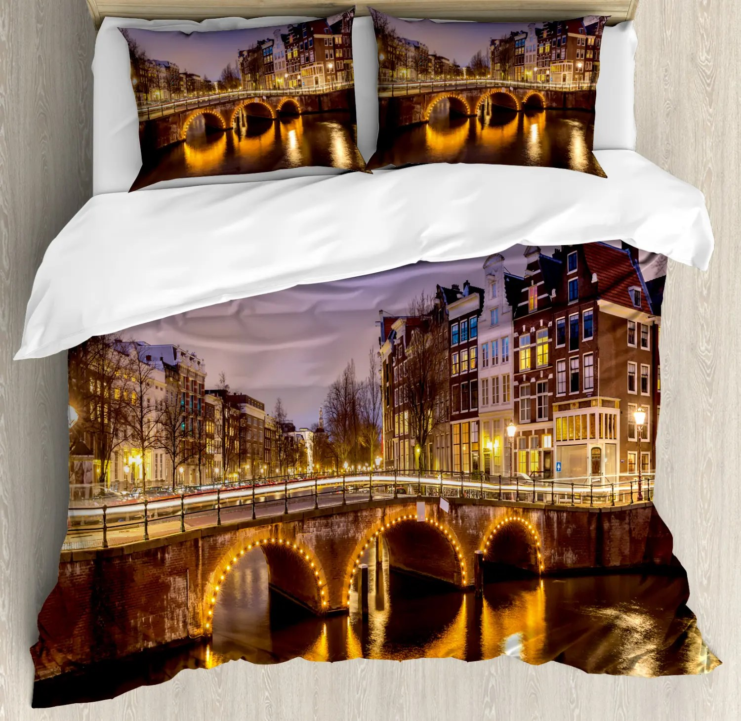Deadpool Bettwäsche Landscape Cover Set With Pillow Shams Old Bridge European Print