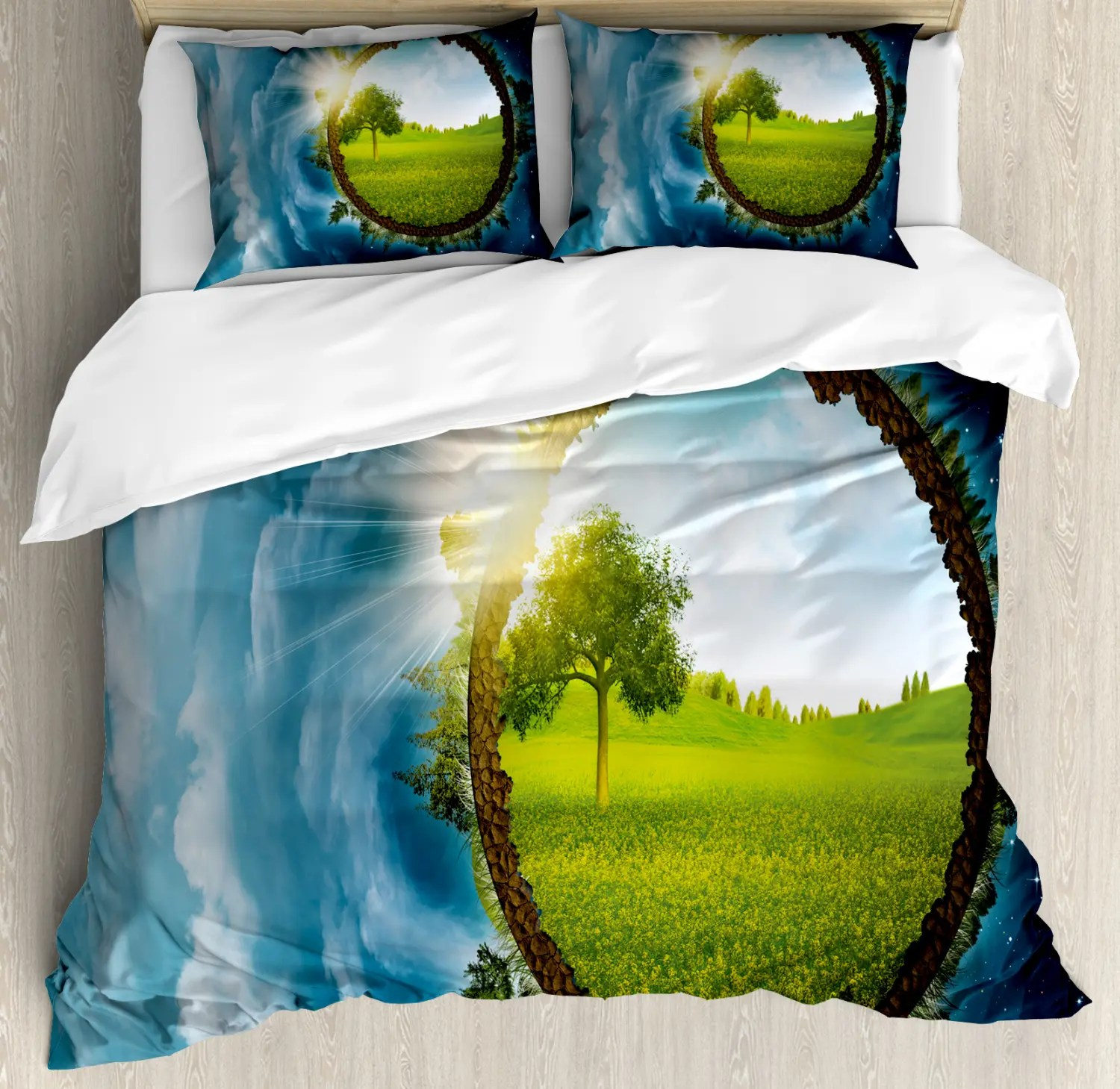 The Vampire Diaries Bettwäsche Earth Duvet Cover Set With Shams Circle Greenery Print Pillow