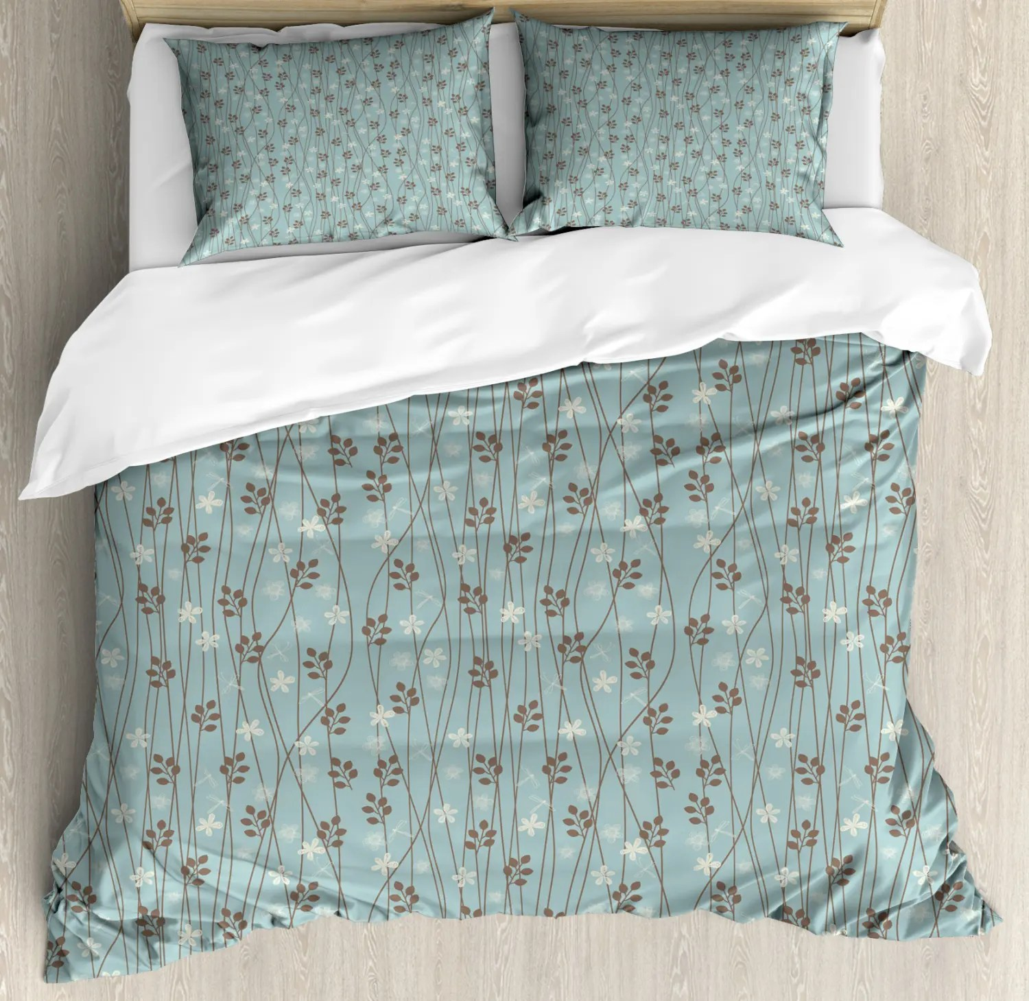 Detektiv Conan Bettwäsche Vintage Duvet Cover Set With Shams Floral Rustic Print Pillow