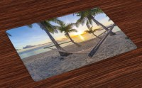 Tropical Placemats Set of 4 Paradise Beach Palms Print ...
