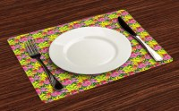 Tropical Hibiscus Placemats Set of 4 Washable Fabric Place ...