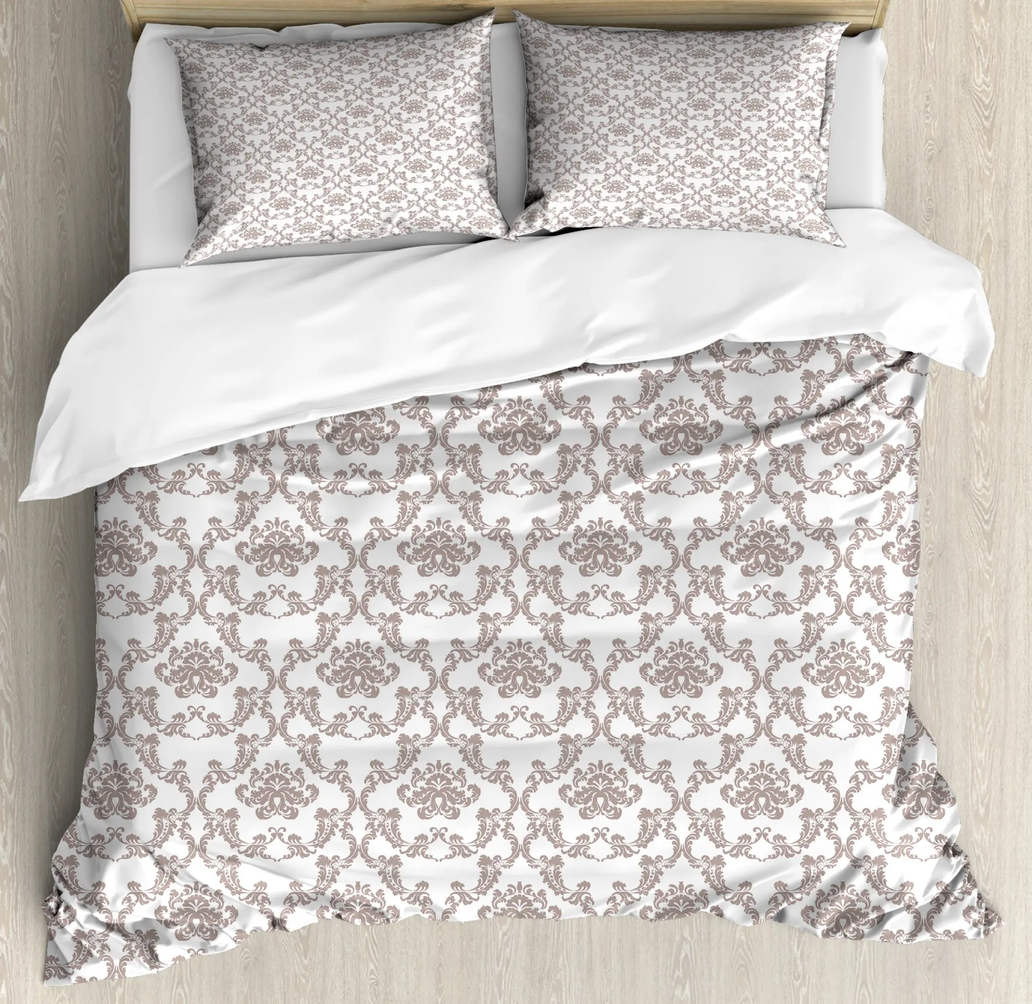 Damask Duvet Taupe Colored Damask Duvet Cover Set