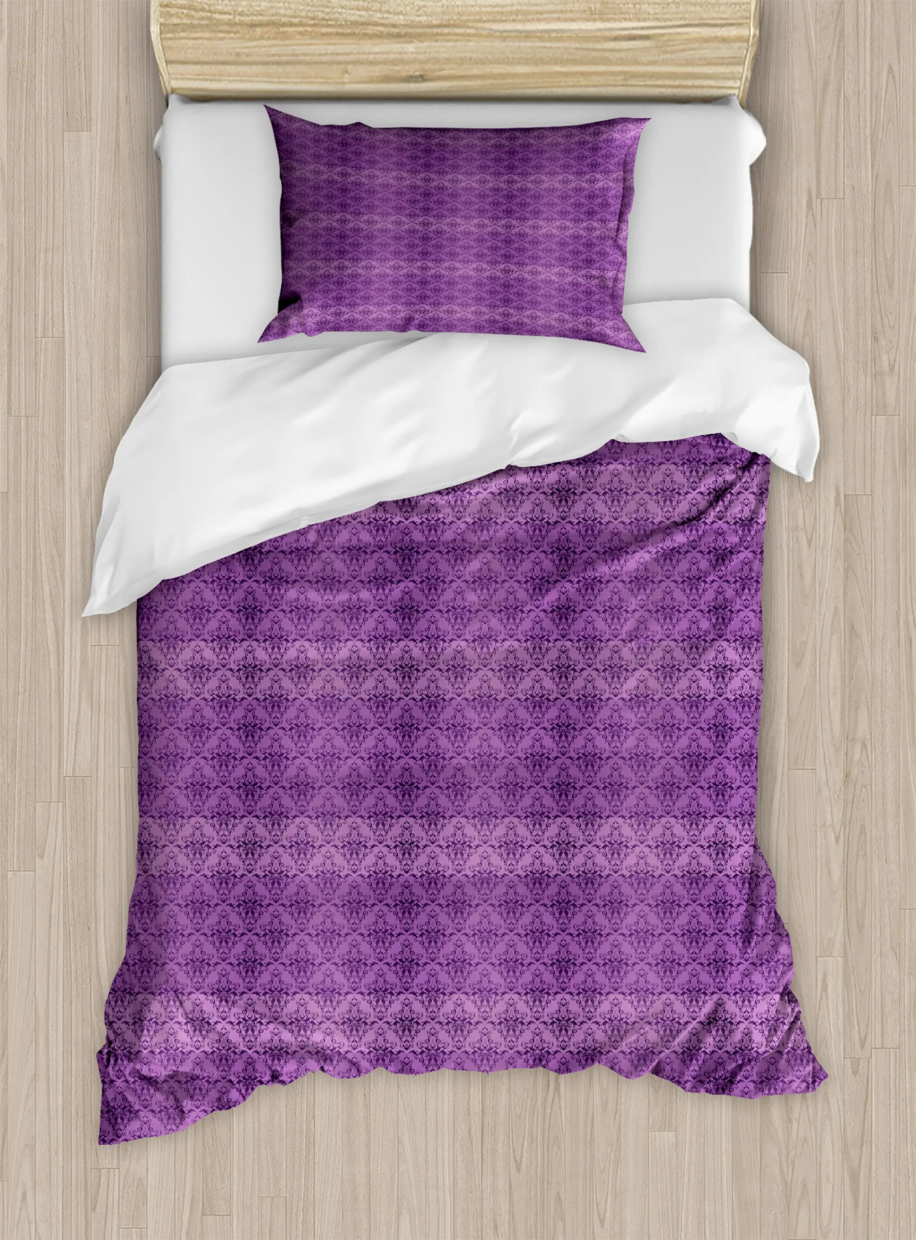 Damask Duvet Rococo Damask Purple Duvet Cover Set