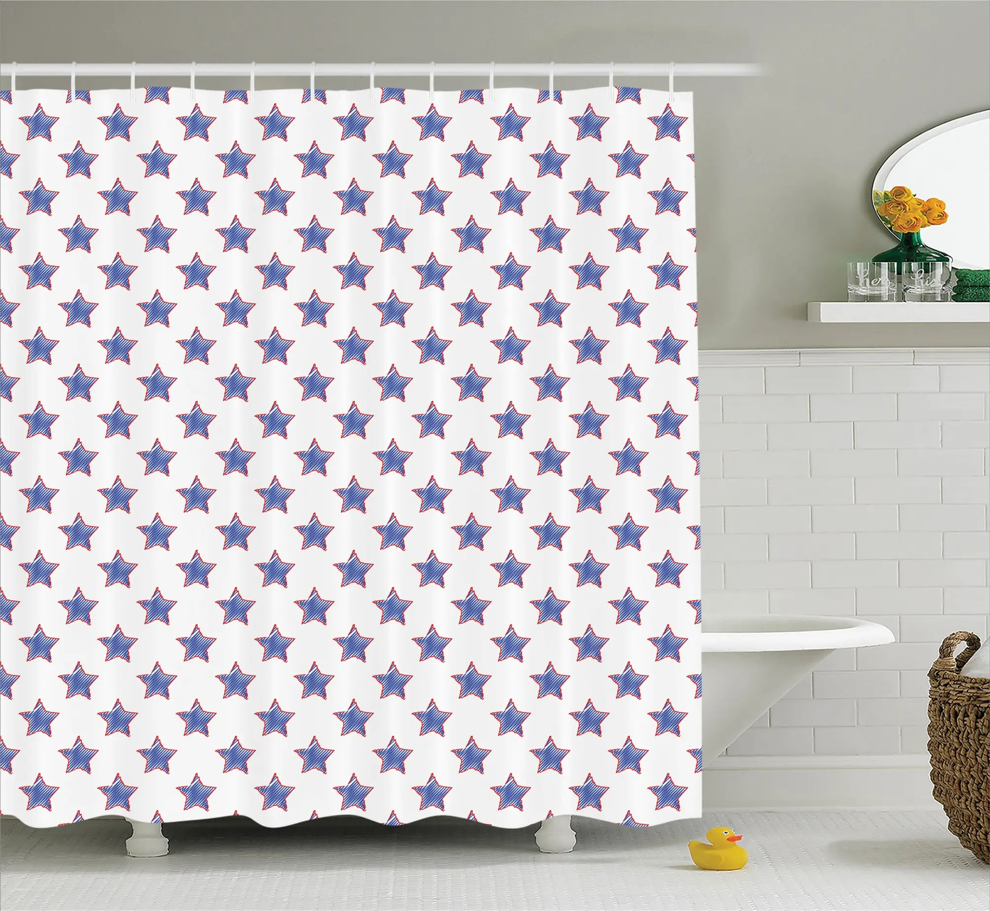 Usa Shower Curtain Usa Flag Star Nation Shower Curtain