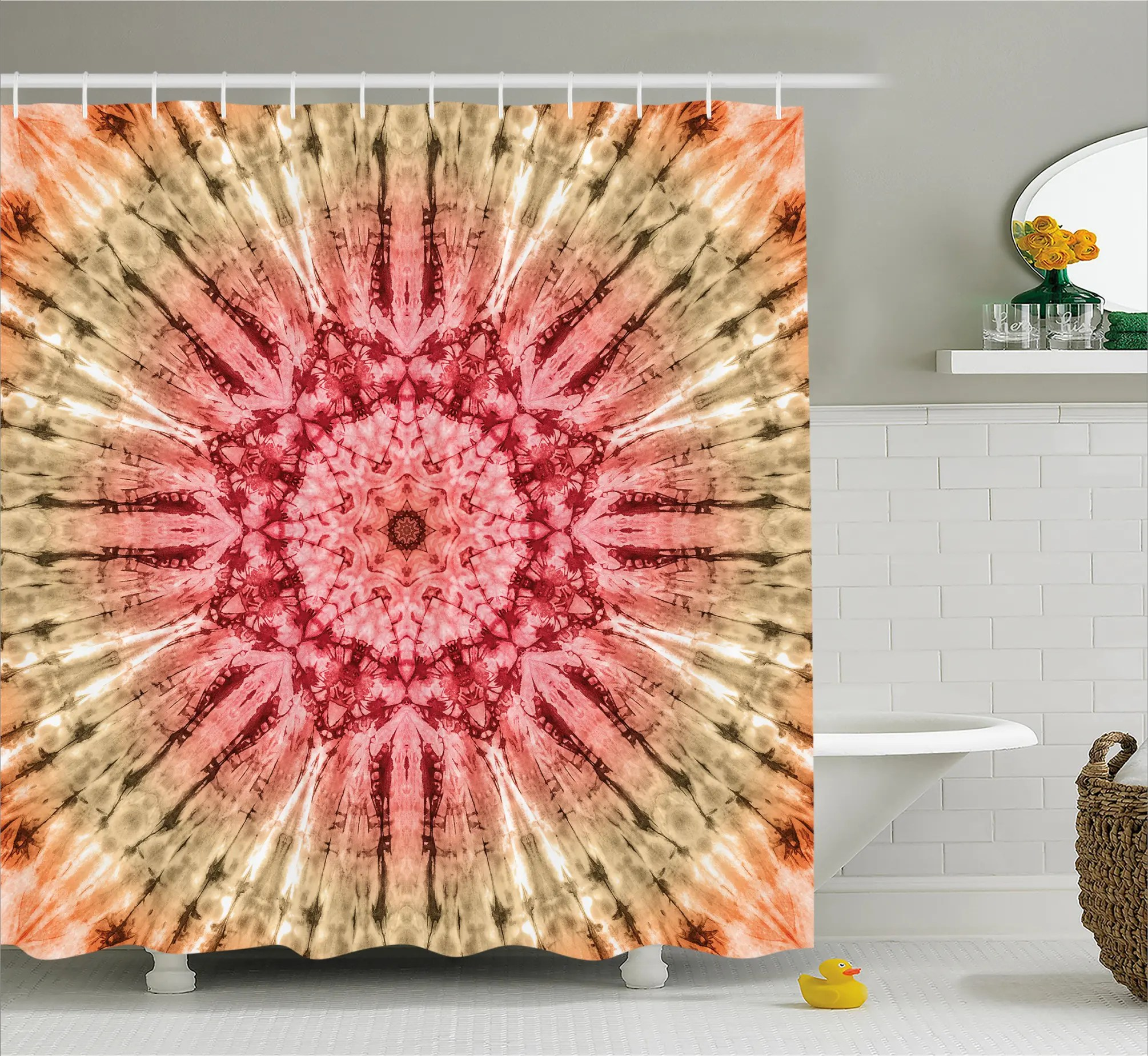 Red And Brown Shower Curtain Batik Hippie Red Brown Shower Curtain