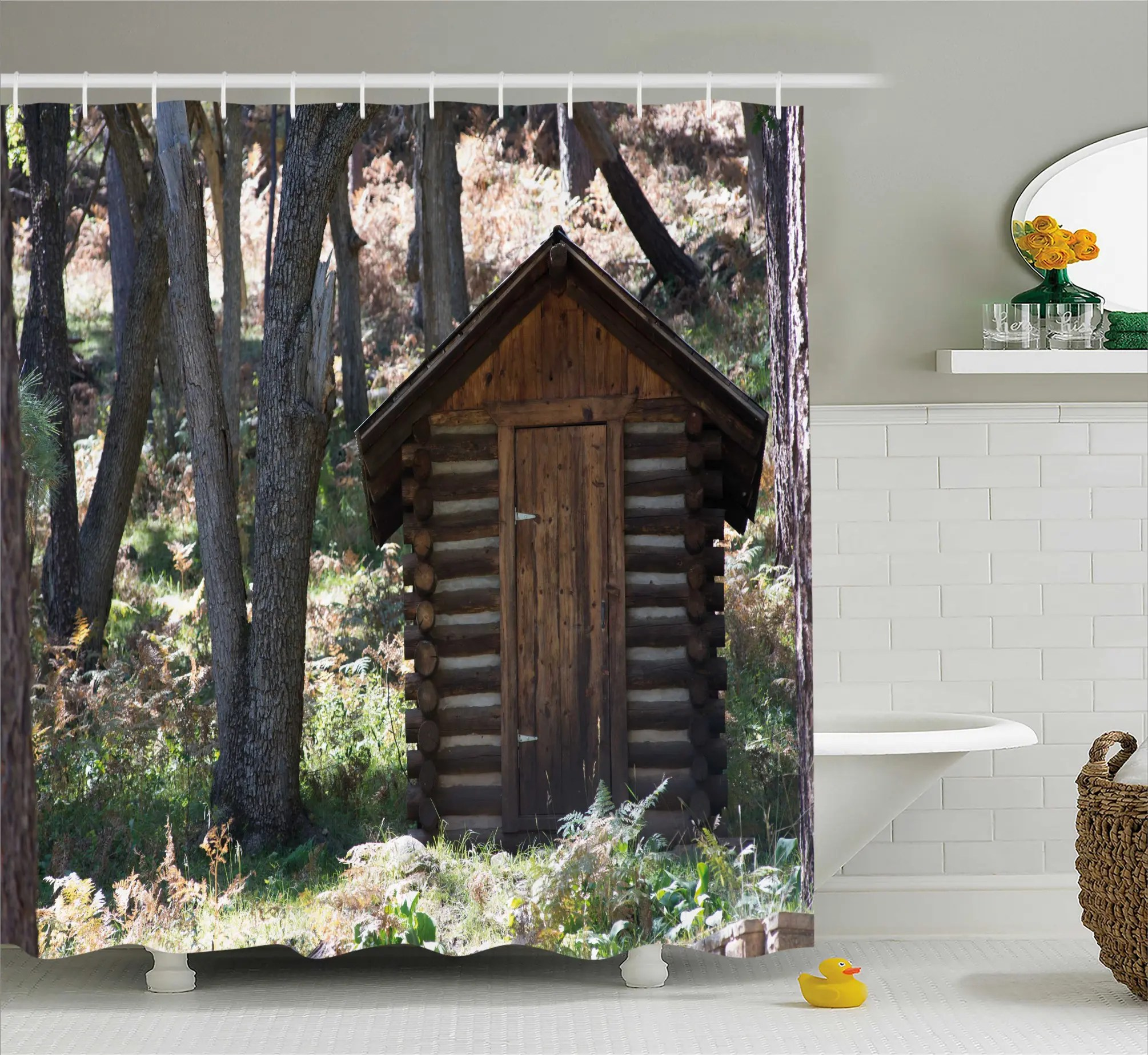 Cottage Shower Curtain Cottage Spring Woods Shower Curtain