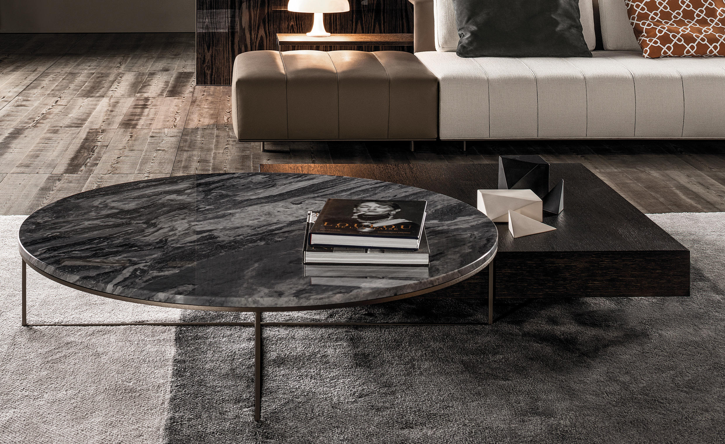 Couchtisch Nickel Glas Calder Bronze Petite Table - Tables Basses De Minotti