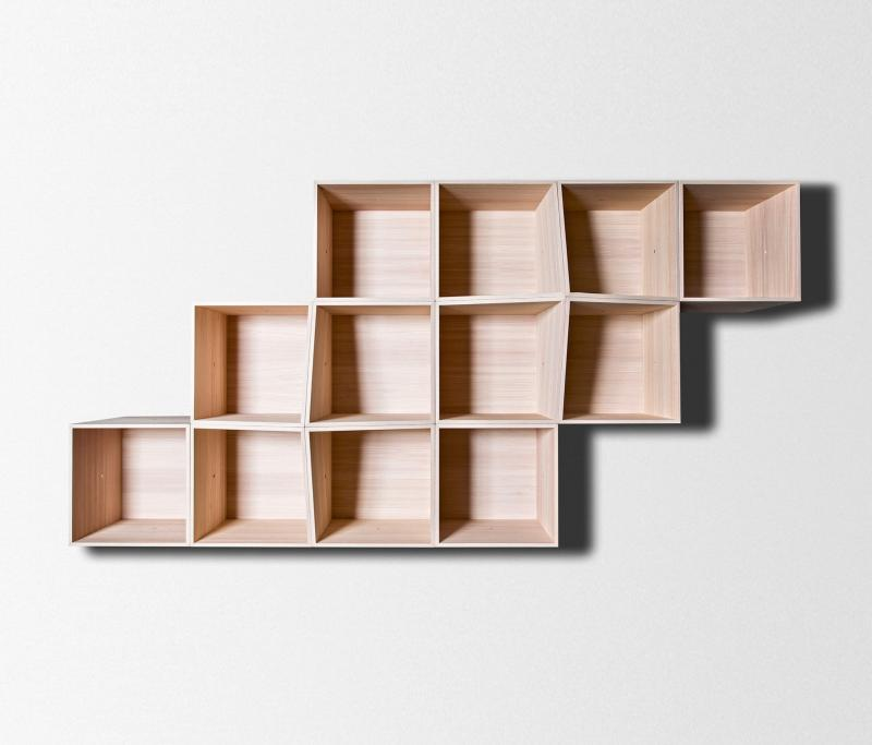 Large Of Wooden Shelves On Wall