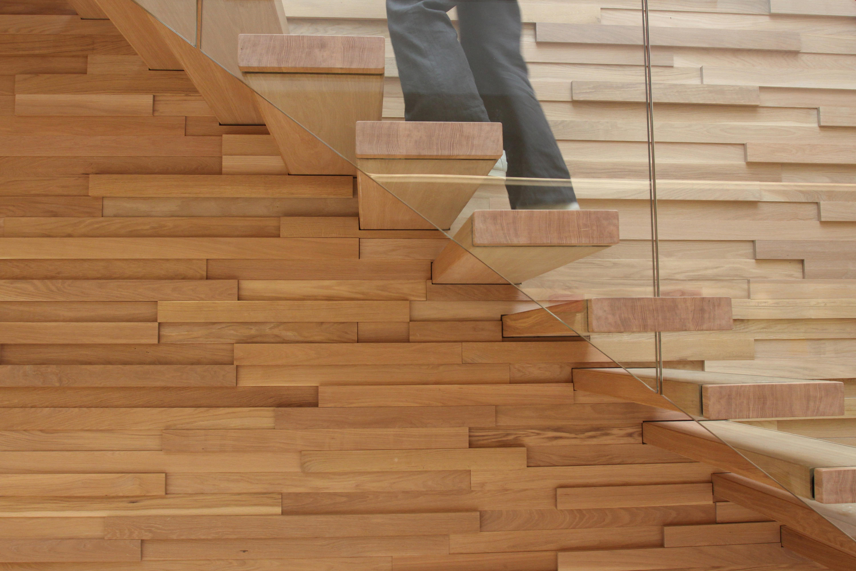 E Stairs Floating | Straight Stairs Wood Tre-509 - Staircase