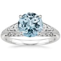 Aquamarine Serafina Diamond Ring (1/4 ct. tw.) in 18K ...