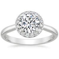 Preset Platinum Halo Diamond Ring (1/8 ct. tw.) with 1 ...