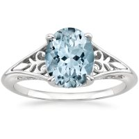Aquamarine Florence Ring in 18K White Gold | Brilliant Earth