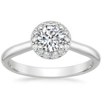 Preset Platinum Halo Diamond Ring (1/8 ct. tw.) with 0.50 ...