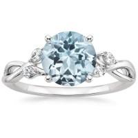 Aquamarine Willow Diamond Ring (1/8 ct. tw.) in 18K White Gold
