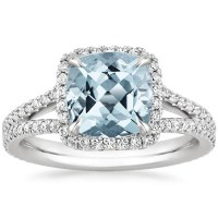Aquamarine Fortuna Diamond Ring in 18K White Gold