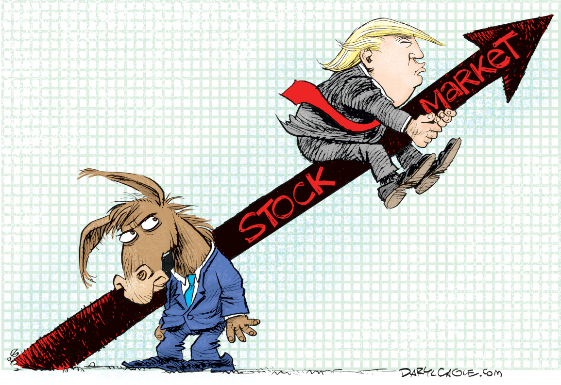 Stock Markets Up Trump Rides The Stock Market Up