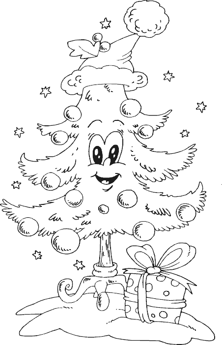 Tree with santa hat coloring page coloring com