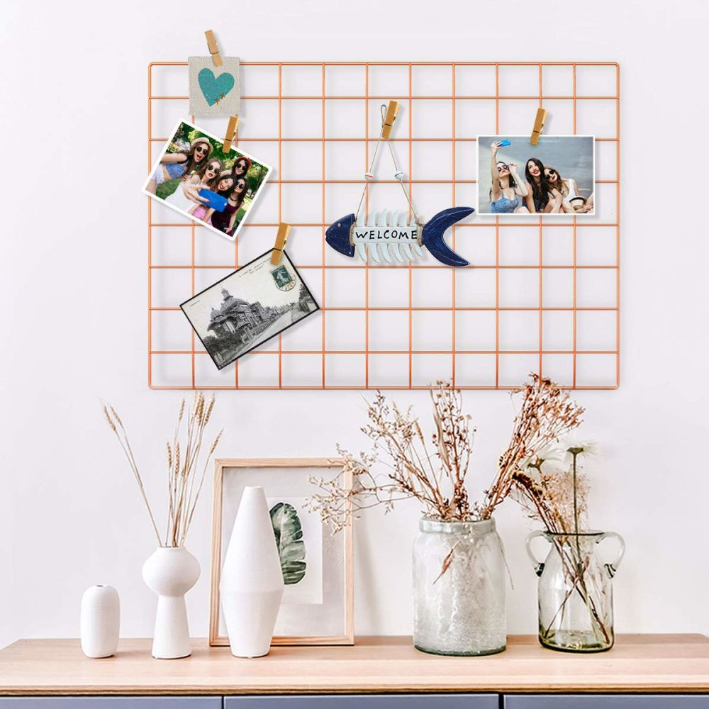 Wall Grid Wire Wall Grid Panel For Photo Hanging Display Metal Grid Wall Decor Organizer Mesh Panels Display Wall Storage 25 6 X 17 7inch Rose Gold 1 Set