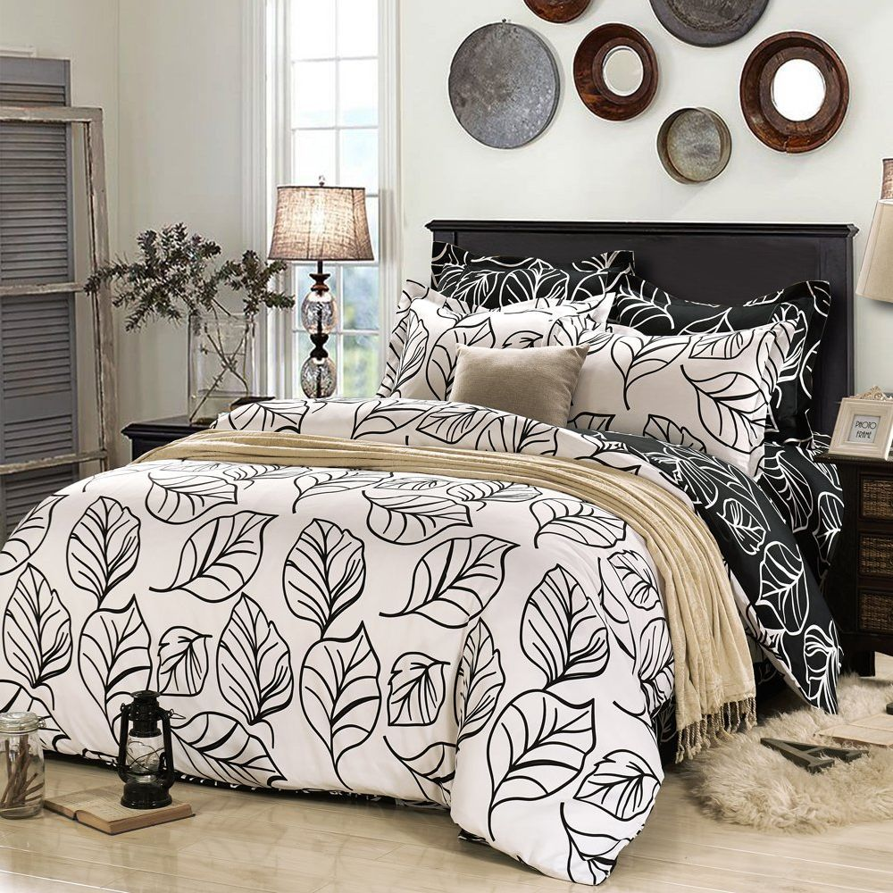 Soft Duvet Covers Fashionlife Black And White Leaves Solid Simple Style 3pcs Duvet Cover Set Soft Polyester For King Size 1 Unit Bag