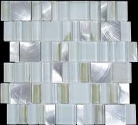 metal glass tile bathroom wall backsplash stainless steel ...