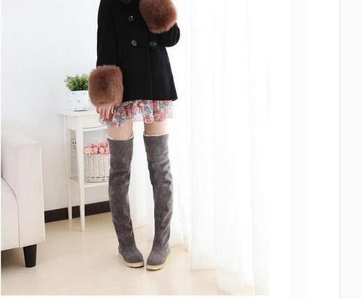 Hot Sale New Women39s Suede Flat Boots Winter Thigh High
