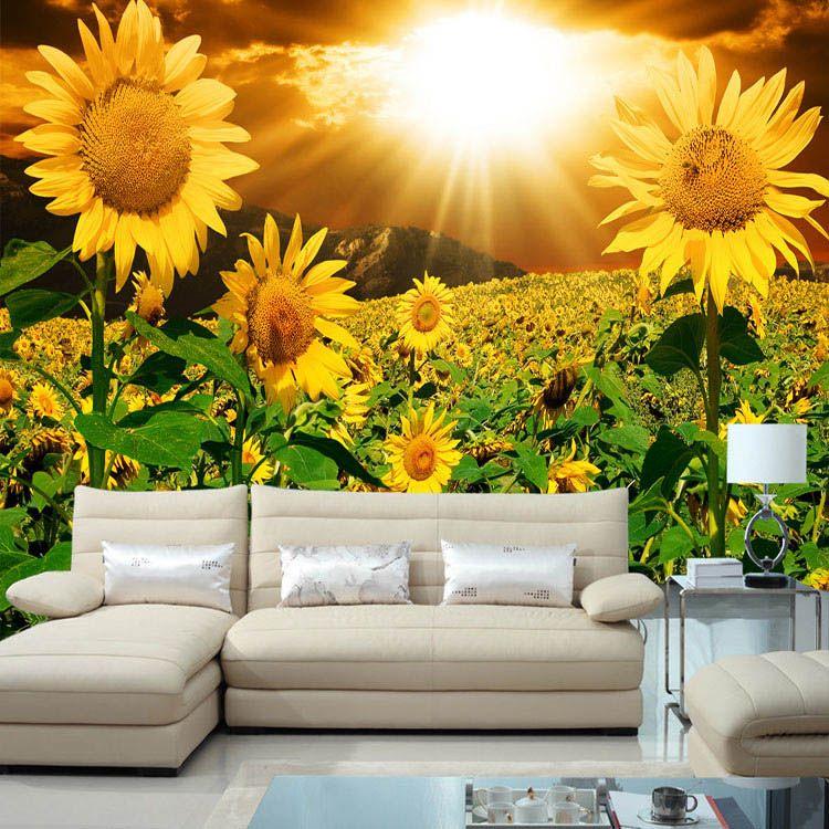 3d Modern Wallpaper Designs Beautiful Sunflower Photo Wallpaper Natural Beauty Wall