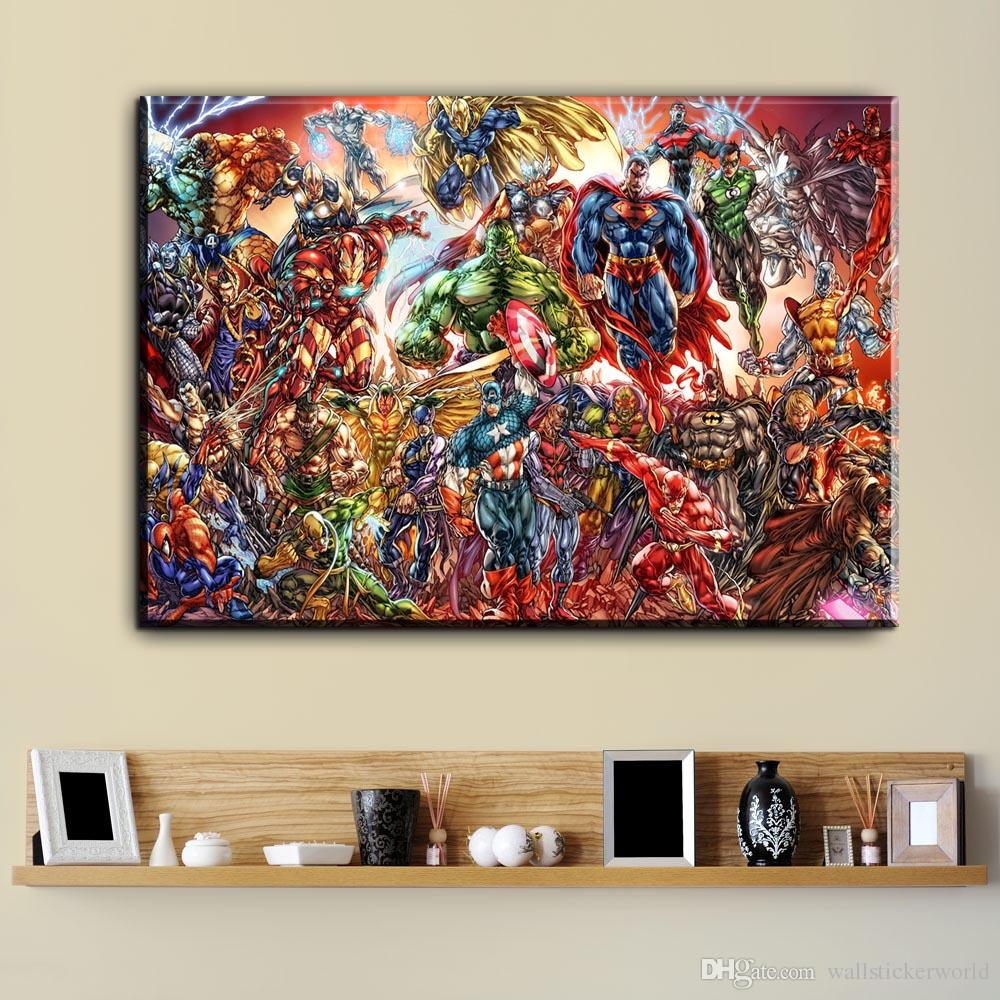 Comic Wall Decor 1 Pcs Watercolor Superhero Comic Movie Canvas Art Oil Painting Modern Home Decor Wall Art Poster Pictures For Living Room No Frame