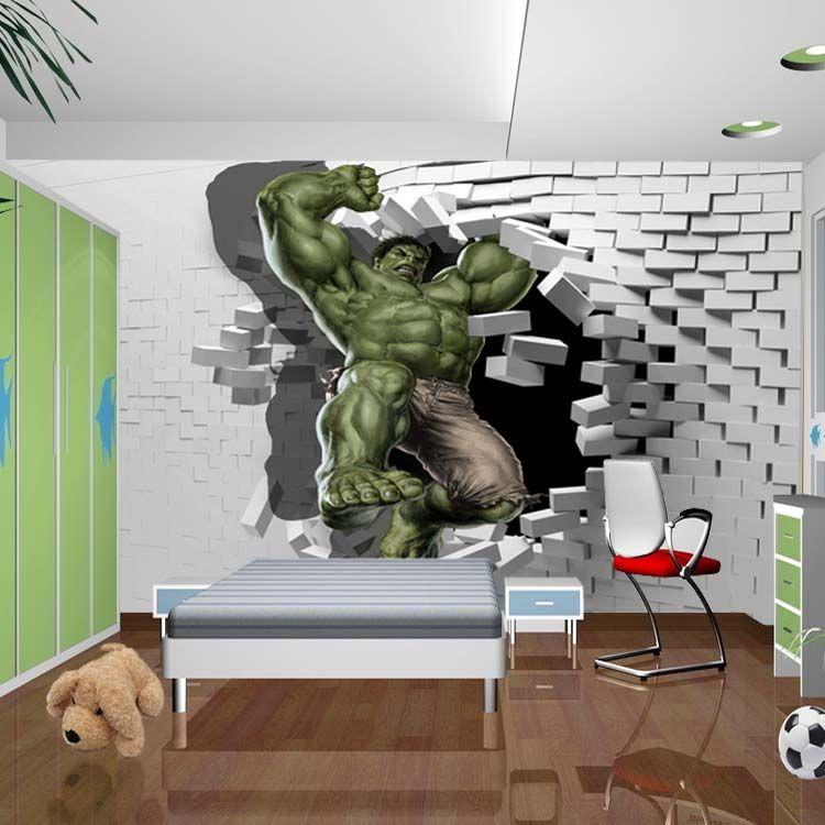 3d Wallpaper For Kid Bedroom 3d Avengers Photo Wallpaper Custom Hulk Wallpaper Unique