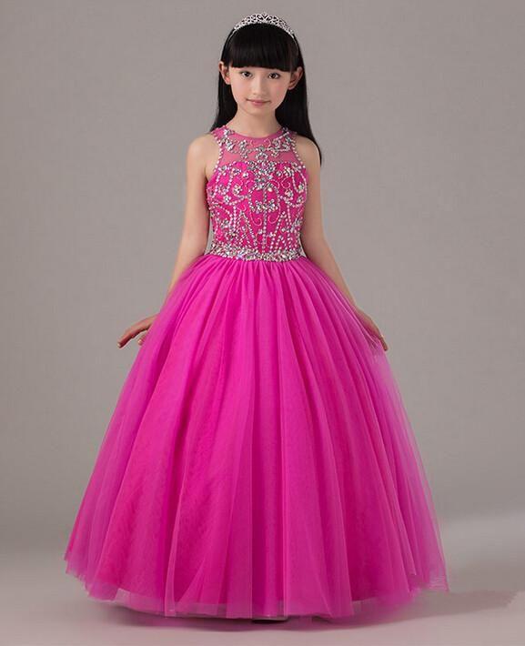 Hot Pink Beaded Pageant Dress For Little Girls Full Skirt Long Tulle